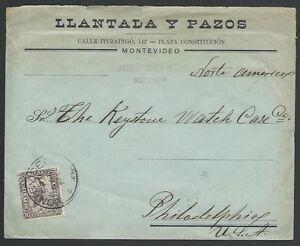 URUGUAY-1905-cover-Montevideo-to-Philadelphia-11180