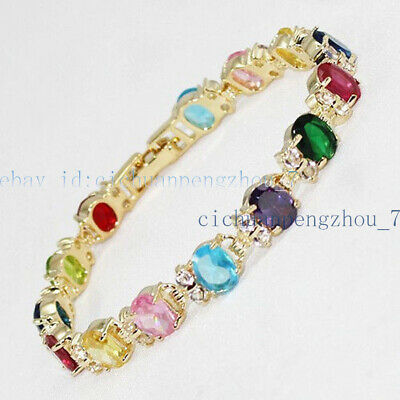 """Jewelry Multicolor Crystal Faceted 18K Gold-Plated Bangle Bracelets 7.5/""""AAA"""