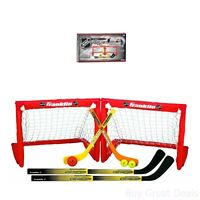 Mini Street Hockey & Knee Hockey Sticks Balls Goal Set Indoor Sport Game Kid Fun
