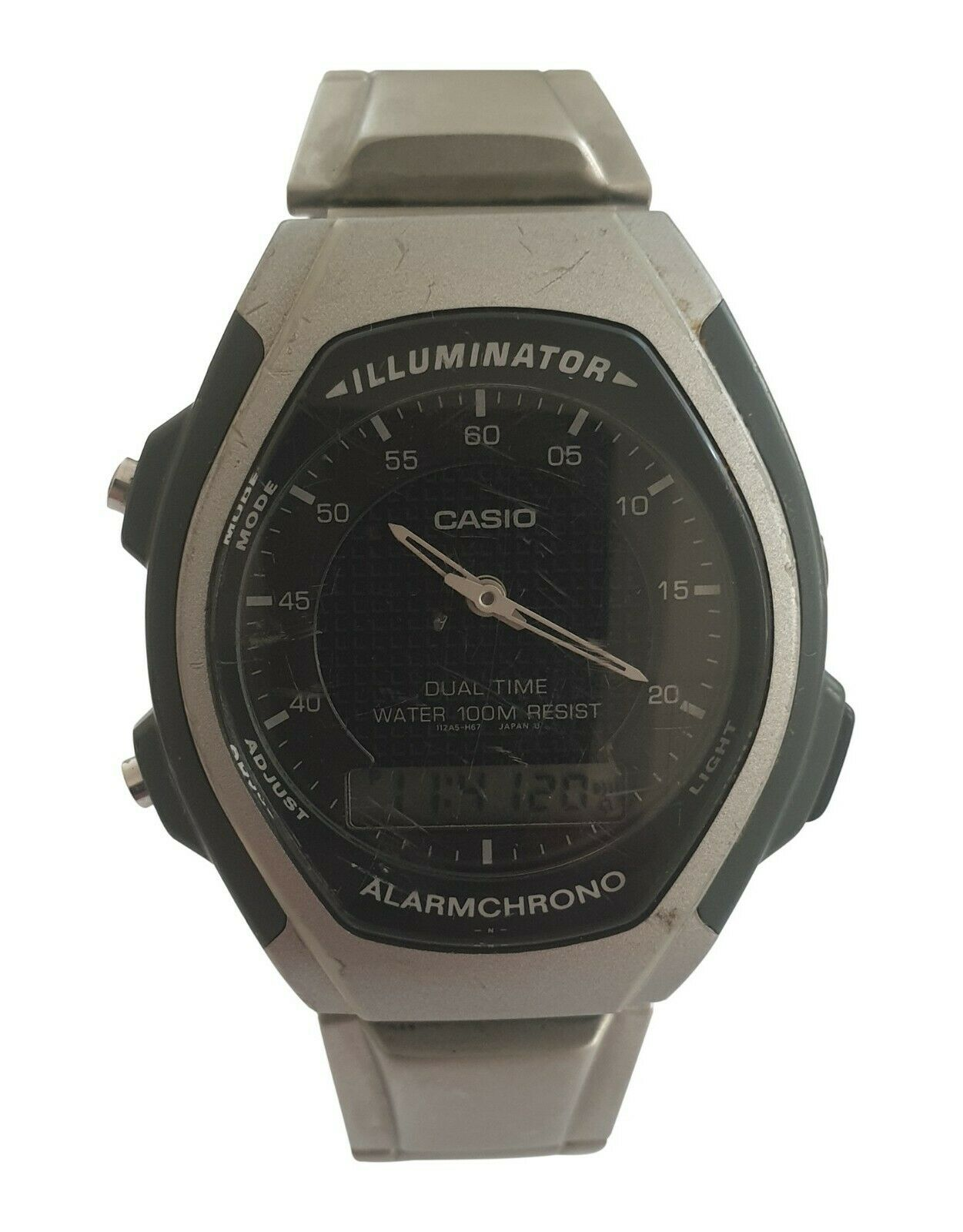 Image 1 - Casio Watch Dual Time 100M Illuminator Alarmchrono Watch AQ-140W - Cased in Mala