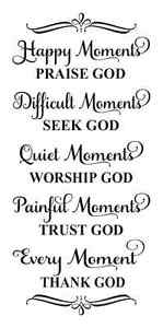 Image of: Important Image Is Loading Inspirationalstencilhappymomentspraisegodbiblequotes Ebay Inspirational Stencilhappy Moments Praise God Bible Quotes Family