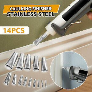 Stainless-Steel-Applicator-Tool-14pcs-Finisher-Caulking-Nozzle-Kitchen-Push-Rod