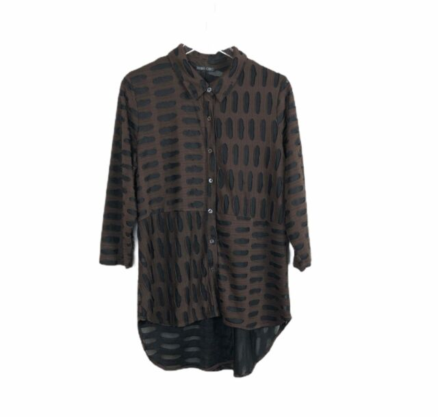 Boho Chic Womens Tunic Brown Black Large Button Front High Low Hem 3/4 Sleeve
