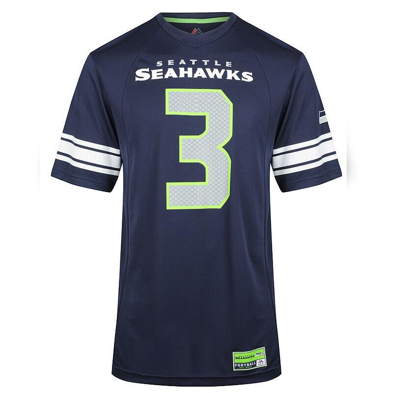 Majestic NFL Seattle Seahawks Russell Wilson Hashmark Jersey - Navy Bright Green