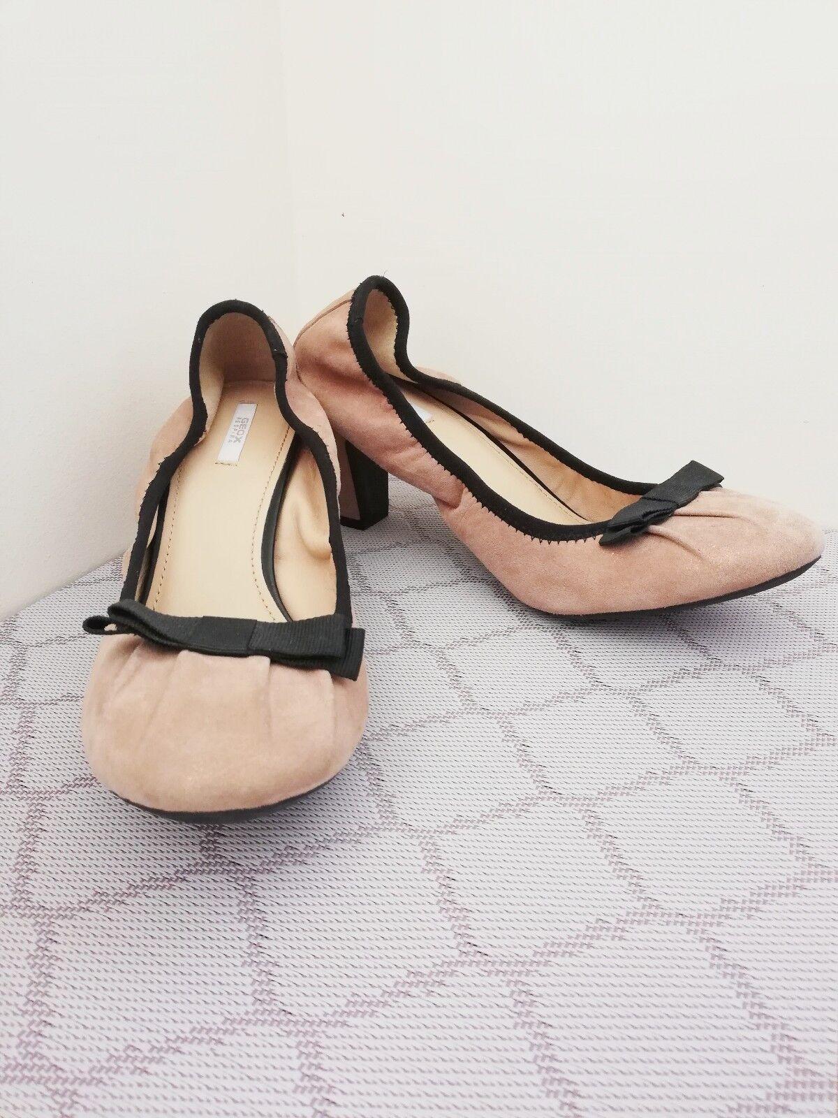 Geox respira Nude Nude Nude rosado Cuero Zapatos Tribunal de detalle de arco Sparkle for EU39 UK6 US8.5 e3cfe8