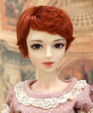 """1/4 bjd msd 7-8"""" doll head orange red short wig Luts Soom Iplehouse W-JD28053M"""