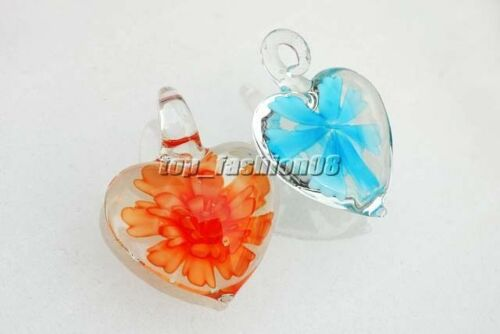 Wholesale Bulk 12Ps Charms Heart Flower Handmade Glass Pendant Fit Necklace FREE