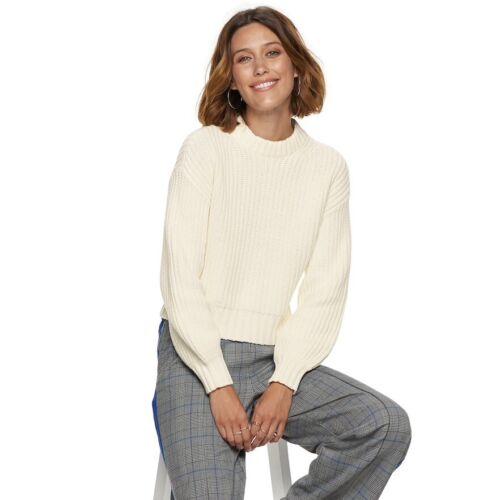NEW Womens POPSUGAR Cream Colorblock Crewneck Sweater Sizes L XL 2XL SHIPS FREE