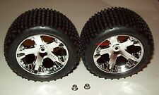 "Traxxas Rustler 1/10 Rear All-Star Chrome Wheels Alias Tires Assembled 2.8"" New"