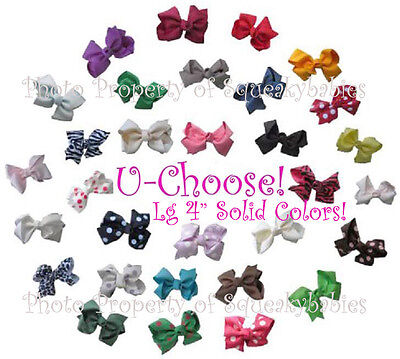 "Obedient U-choose Lg 4"" Bow 1-prong Clip Solid Colors Wear In Hair Baby Shoes Match Squeakys Sale!"