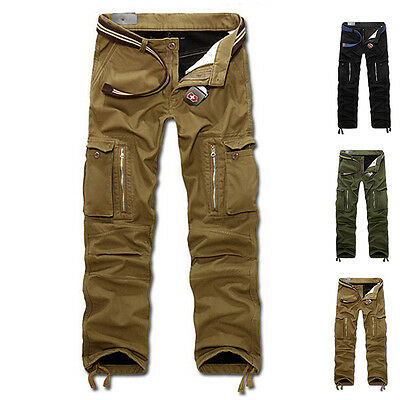 Men's Casual Slacks Thicken Combat Cargo Work Pants Military Trousers No Belt