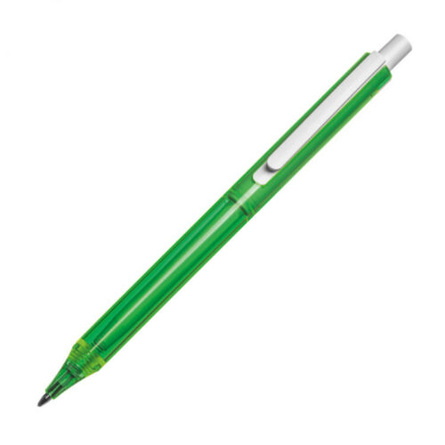 8 verschiedene Farben 80x Kugelschreiber transparent mit weißem Clip