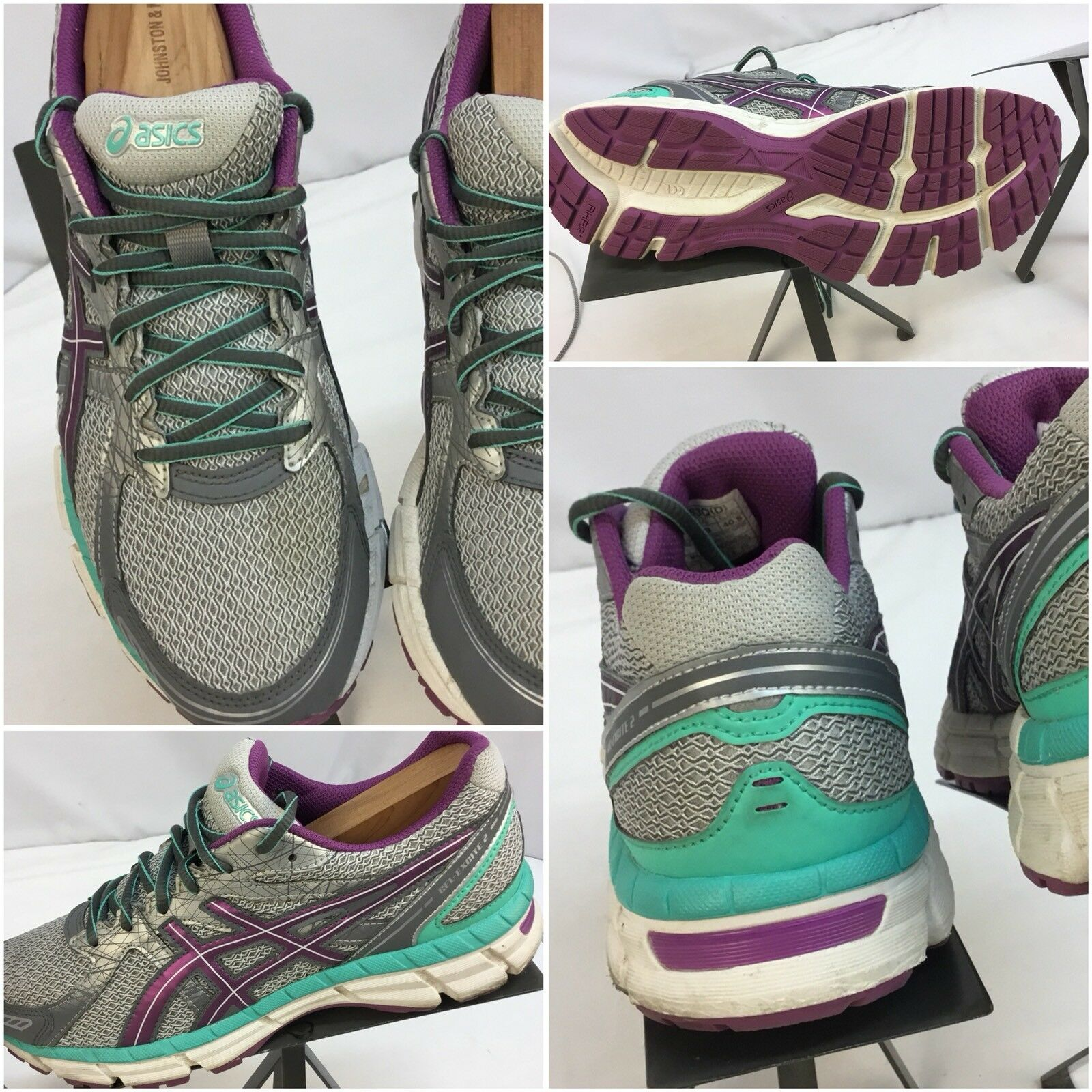 Asics Gel Excite Silver 2 Sz 9 Women Silver Excite Purple Running Shoes Worn Twice YGI K7 e79b82