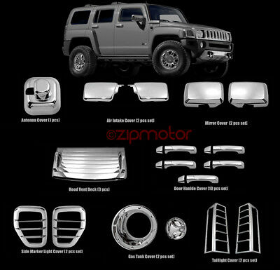 06-10 HUMMER H3 SIDE AIR INTAKE HOOD VENTS COVERS CHROME MOULDING BEZEL 07 08 09