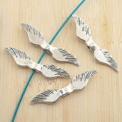 1000pcs Antique Silver Wing Design Spacer Beads G1244