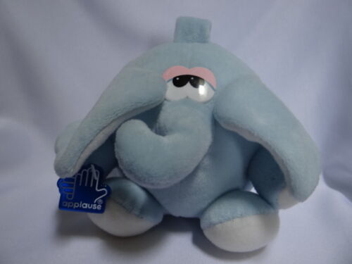 vintage 1991 Baby Blue Applause Soft Lovey Plush Elephant w handle, Rattle, tags