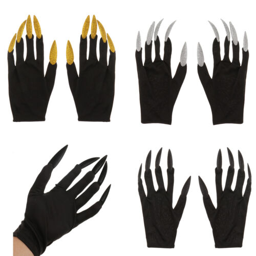 Women Witch Gloves w// Glitter Nails Halloween Masquerade Fancy Dress Gift Favors