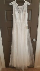 lulu's wedding formal quince gown dress white tan floral
