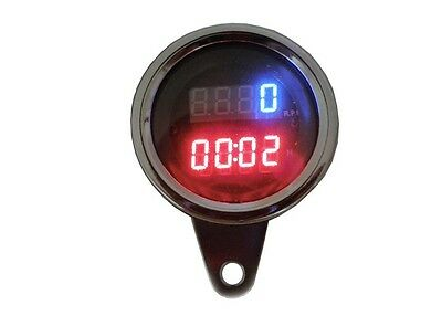 Motorcycle Speedometer Tachometer LED Digital RPM w/ Timer for Harley Custom