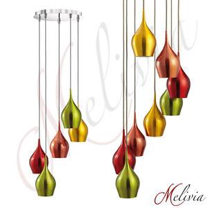 Suspension-Luminaire-Suspendu-5-8fl-Multicolore-Aluminium-Or-Rouge-Vert-Jaune