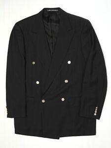 Ermenegildo-Zegna-Tindari-Mens-Blazer-42L-Black-Double-Breasted-Brass-Button