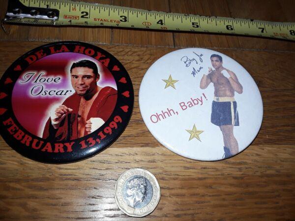 * Réduit * 2 X Vintage 1990 S Boxer Osar De La Hoya Boxe Pin Back Badge Lot 10