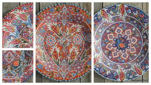 40cm Ceramic hanging plate Hand painted Gorgeous Designs Colourful Turkish