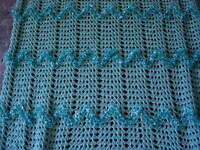 Hand Crafted Homemade Crocheted Afghan - Mint Green - Eyelash - Soft -