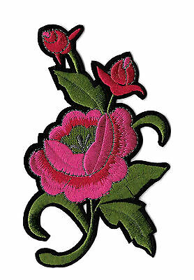 Rose - Dark Pink - Flower - Embroidered Iron On Applique Patch