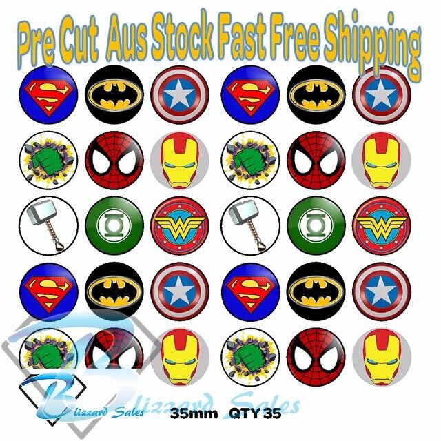 30x Marvel Superhero Edible Icing Cake Toppers 35mm Cupcake Decorating Images