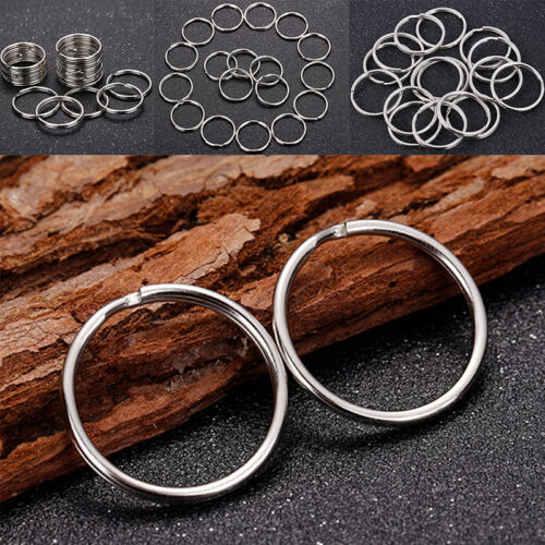 50PCS Polished Silver Key Holder Split Ring Keyrings Key Chain Hoop Loop DIY HU