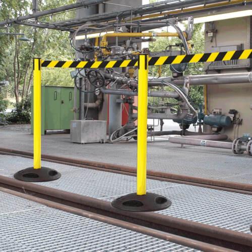 gelb//schwarz 4 m Personenleitsystem  für außen RS-GUIDESYSTEMS Gurtpfosten