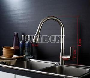Modern Kitchen Sink Mixer Tap Pull Out Spray Chrome Brushed Spring Faucet Ebay