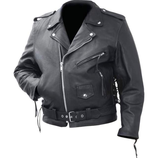 bdce6dd4d99 Mens Classic Black Leather Motorcycle Biker Jacket Zip outlining Side Lace