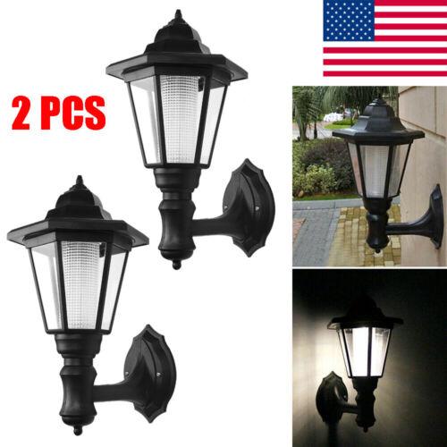 2-Pack Solar Powered LED Wall Lamp Hexagonal Light Exterior Sconce Lantern Lamp