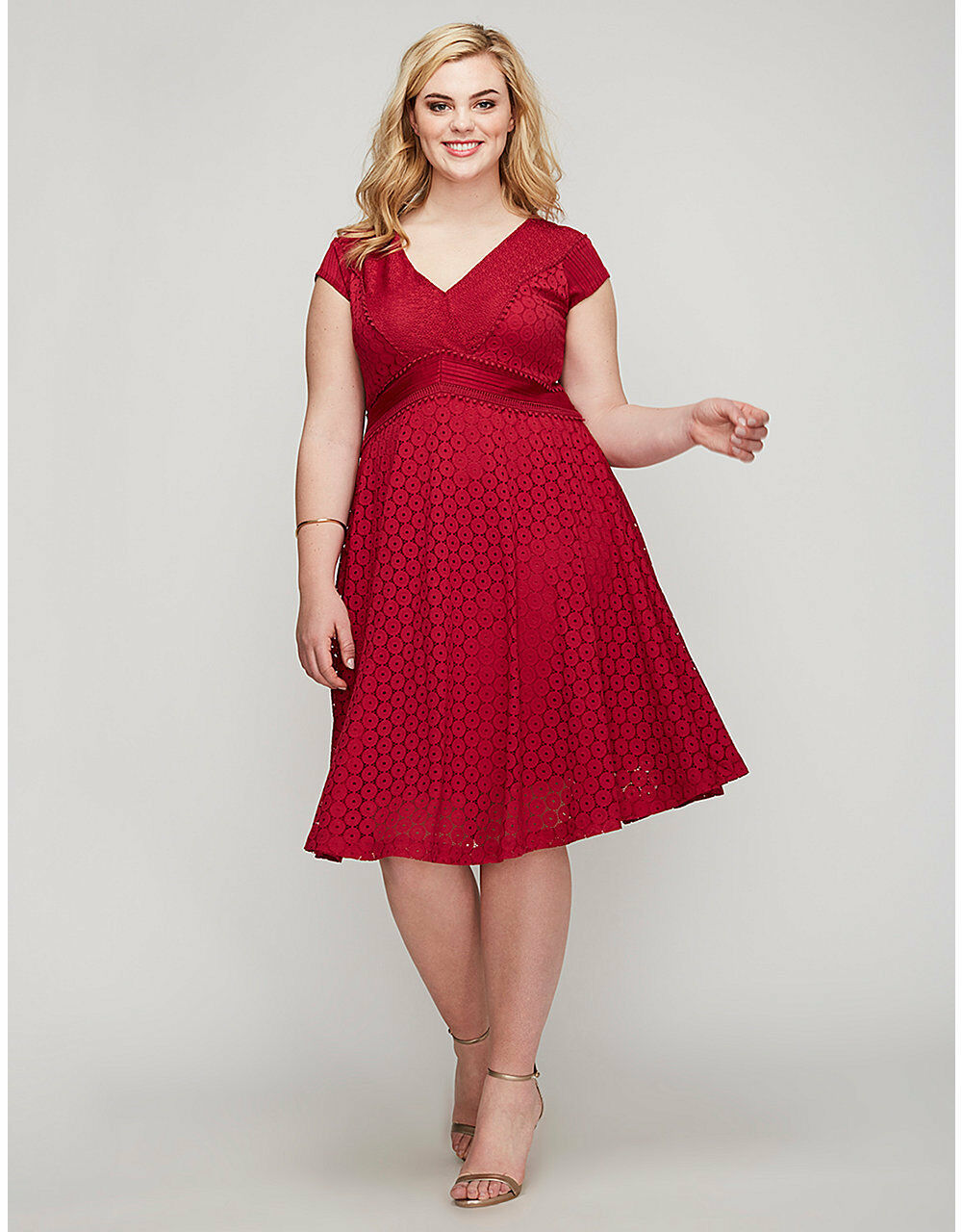 NEW LANE BRYANT PLUS SIZE RED DETAILED LACE FIT & FLARE DRESS SZ 26