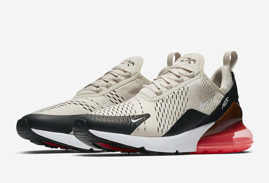Nike Air Max 270 Light Bone Hot Punch Black AH8050-003 Sizes 8-13