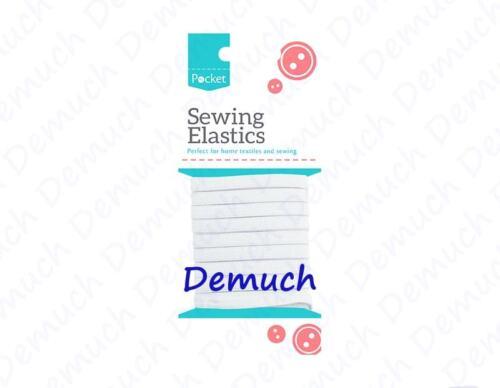 New Sewing Elastics White Dressmaking Crafts Hobby Flat Width 8mm 12mm 25mm UK ✔