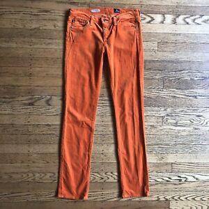 AG-Adriano-Goldschmied-Stevie-Skinny-Corduroy-Jeans-Size-28-Orange-Stretch-Ankle