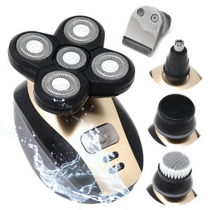 5-in-1 Rotary Electric Shaver 4D Rechargeable Bald Head Hair Beard Trimmer Razor