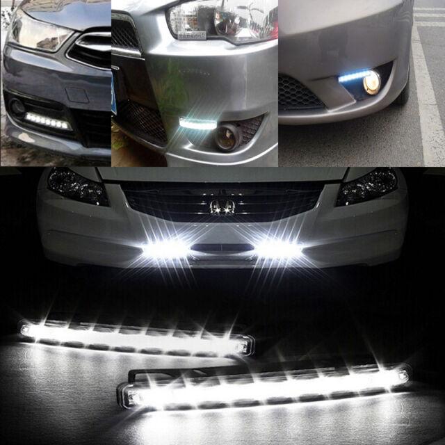 Wind Powered 8 LED Car DRL Daytime Running Light Fog Head Lamp Bulbs White