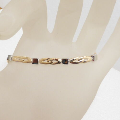environ 18.29 cm Slim Bracelet montraient Fermoir 18K Jaune Blanc Or Plaqué 18.5 cm 7.2 in UK