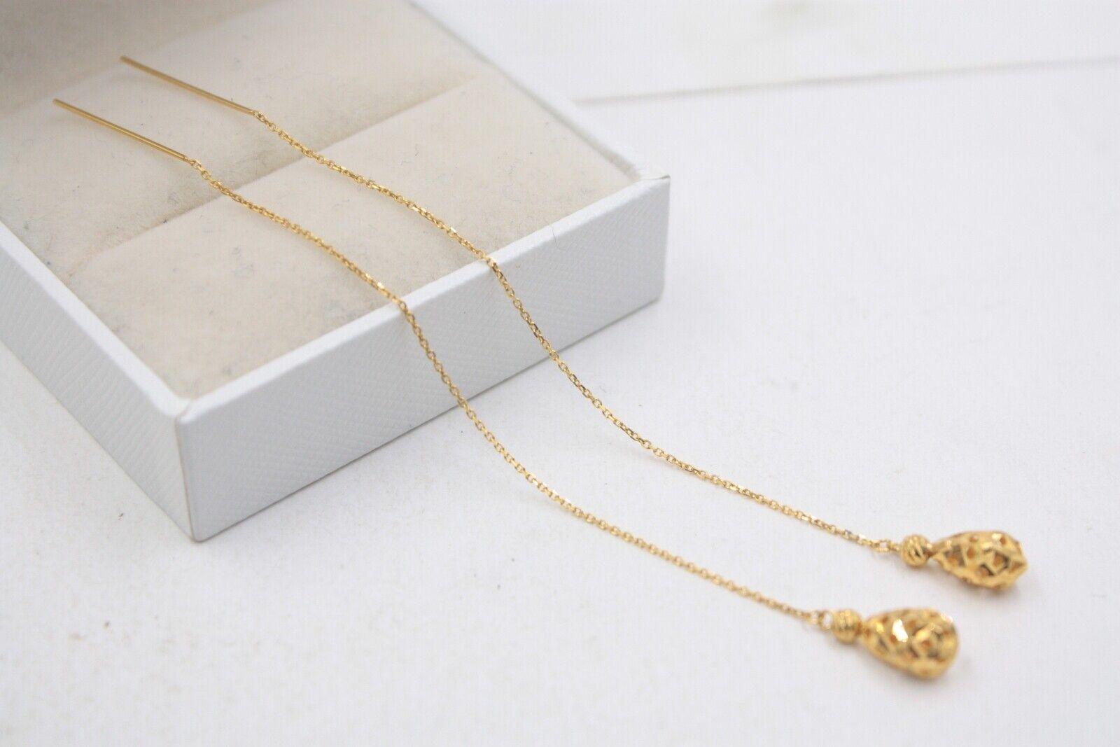 Pure 18K Yellow gold Dangle Women Hollow Bead O Link Chain Earrings   1.4g