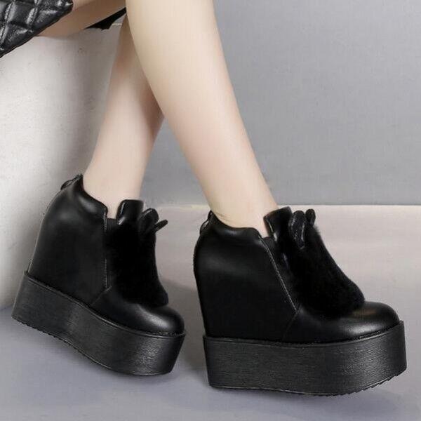 bottes polaire basses compensé 13 cm noir laine polaire bottes élégant comme cuir 8799 31a883