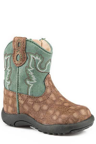 Roper Infant Baby Boys Girls Brown Green Gator Vamp Leather Zip Up Cowboy Boots