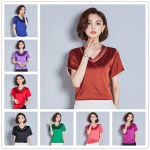 70c7062a868fa Women Satin T Shirts Faux Silk Tops Short Sleeve Blouse V Neck Tee ...