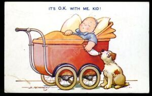 Vintage-Postcard-034-Bamforth-Comics-034-Baby-in-Pram-Baby-Bottle-Puppy-Posted-1944