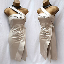 KAREN MILLEN Silver One Shoulder Ruffle Pleat Cocktail Wiggle Pencil Dress UK 8