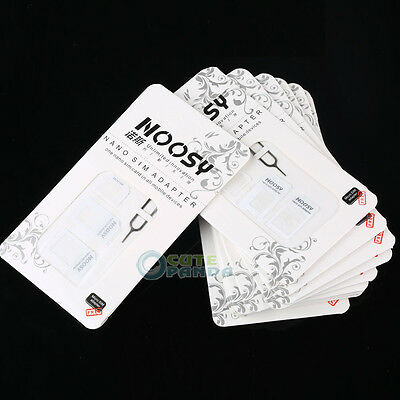 10 x White Nano Sim Card To Micro Standard Adapter Converter Set For IPhone 4S 5