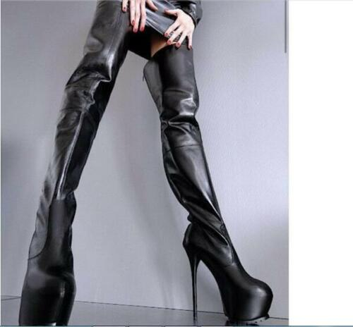 Bottes pour bouts cuissardes hauts talons à sur femmes à arrondis gothiques chaussures sexy kXZiPTOu